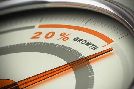 Wijzerplaat met de naald overtreft de doelstelling van twintig procent groei. Conceptueel beeld 3D voor illustratie van motivatie, KPI en doelstellingen exeed verkoop.