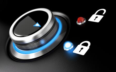 anuncio publicitario: Idea de protección de datos. Ilustración conceptual con un botón y dos candado sobre fondo negro. El efecto de desenfoque y la luz azul. Foto de archivo