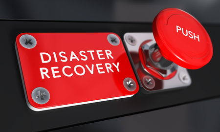 crisis economica: Cerca de un botón rojo de pánico con la recuperación distaster texto con efecto de desenfoque. Imagen del concepto de ilustración de DRP, continuidad del negocio y la comunicación de crisis.