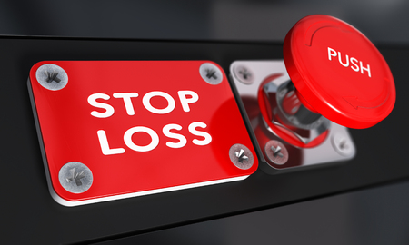 stop button: Stop loss panic button with over black background, finance concept