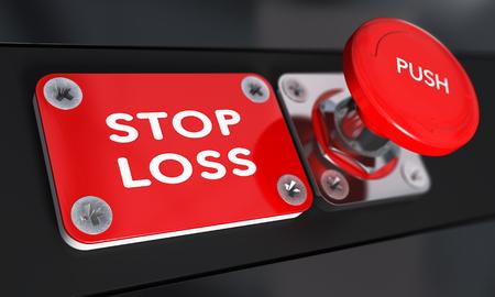 Stop-Loss-Panik-Knopf mit über schwarzem Hintergrund, Finanzkonzept