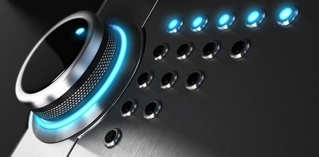 Rating-Button auf der höchsten Position angeordnet. Konzeptionelle Bild für Illustration der hervorragenden Kundendienst und Kundenzufriedenheit.