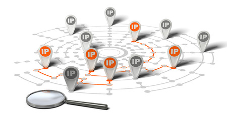 Many flags withe the word IP pined on network over white background and a magnifier. Concept image for illustration of IP tracking. Stock Photo
