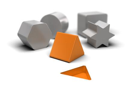 cognicion: Bloques de forma sobre el fondo blanco con un una naranja que adaptarse a la forma en el suelo. Concepto de imagen para la ilustración de las cosas fáciles y sencillas Foto de archivo