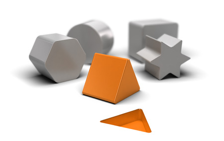 deduction: Shaped blocks over white background with an orange one who fit the shape on the floor. Concept image for illustration of easy and simple things