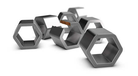 Six metal shapes and one defective part over white background. Illustration of non compliant product or manufacturing problems.