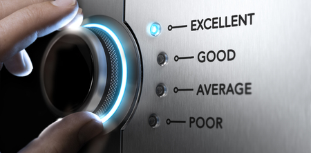 satisfied people: Hand turning a knob to the top position, blue light and blur effect. Concept image for excellent customer service. Stock Photo