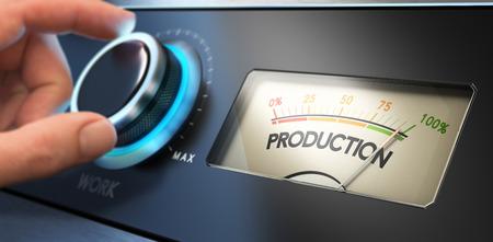 Mano girando la perilla de la productividad hasta el concepto de imagen máxima, para la mejora de la productividad en los negocios o la mejora de la eficiencia. Foto de archivo