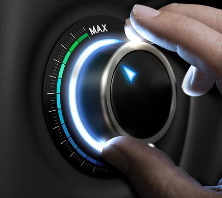 Doigts de Man fixant un bouton de difficulté sur le plus haut poste. Image concept pour illustration de haut niveau de la prise de risque.