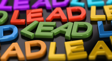 Focus on the word lead with many words around over black background. 3D concept illustration of leads generation.