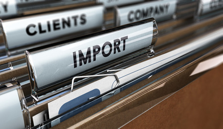 importer: Close up on a file tab with the word import, focus on the main text and blur effect. Concept image for illustration of global business