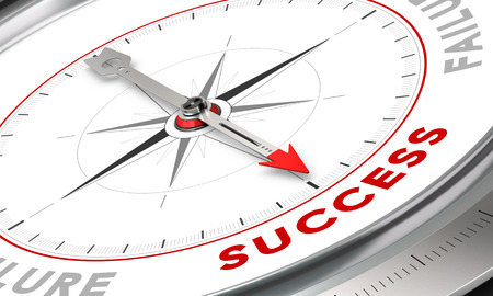 achieved: Compass with needle pointing the word success. Conceptual illustration for motivation purpose. Business concept image. Stock Photo