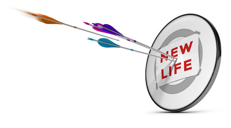 self confidence: One target with three colorful arrows hitting the text new life. Concept image for illustration of successfuly start a new life or self confidence, .