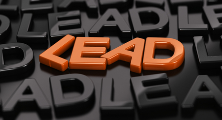 Focus on the orange word lead with many black words around over black background. 3D concept illustration of hot leads. Archivio Fotografico