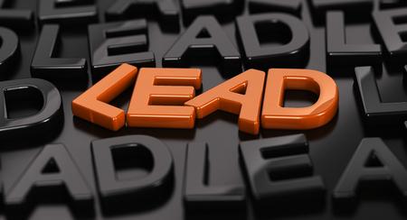 Focus op het oranje woord leiding met veel zwarte woorden rond op een zwarte achtergrond. 3D concept illustratie van hot leads. Stockfoto