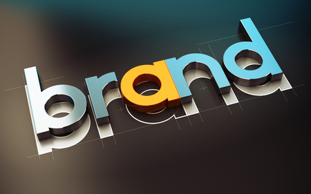 brands: Brand name design over black background, 3D concept illustration of company identity.
