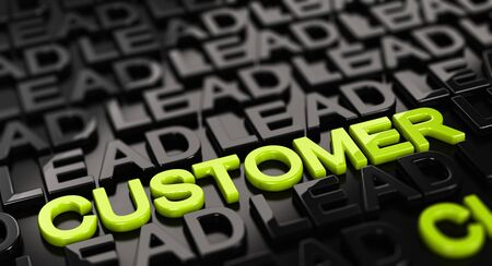 leads: Focus on the word customer with lead words surrounding it around over black background. 3D concept illustration of leads to sale convertion. Stock Photo