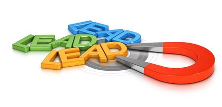 Imán de herradura atrae a nuevos clientes potenciales en un blanco, imagen conceptual 3d para illustraton de generación de leads