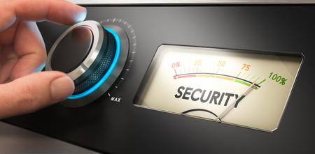 Mano girar un mando hasta el concepto de imagen para la ilustración de la mejora de máxima seguridad,. Foto de archivo - 47336970
