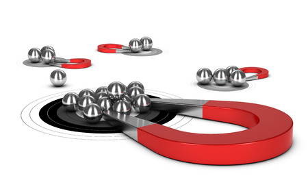 illustraton: Horseshoe magnet attracting metal balls in a target, 3d conceptual image for illustraton of lead generation