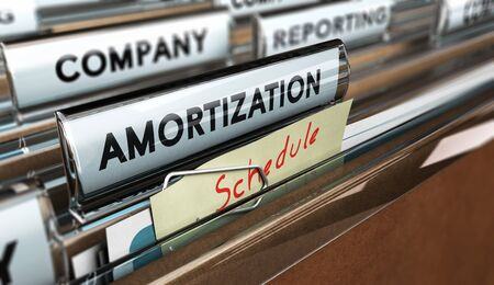 amortization: Close up on a file tab with the word amortization and a note where it is handwritten schedule, blur effect. Accounting concept, amortizing assets illustration. Stock Photo