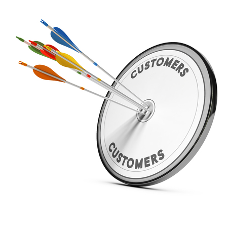 Colorful arrows hitting the center of a target. Concept for illustration of business consulting and new customer acquisition strategy