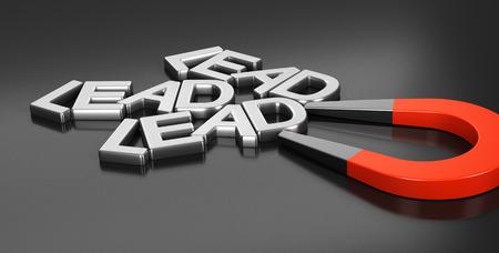 Imán de herradura atraer nuevas pistas sobre el fondo negro, imagen conceptual 3d de ilustración de la estrategia de adquisición de plomo y de marketing estratégico en línea