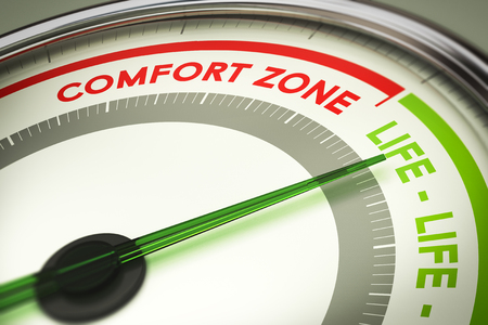 comfort: dial with the text comfort zone and life. Concept illustration of life changes and motivation. Stock Photo