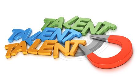 Imán de herradura atraer nuevos talentos sobre fondo blanco, imagen conceptual 3D para la ilustración de la estrategia de adquisición de talento o el reclutamiento.