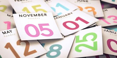 meses del año: Muchos calendario de los días de corte con la ilustración de imagen de enfoque el 5 de noviembre, para el paso de tiempo o falta de decisión. Foto de archivo