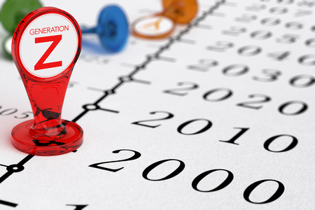 テキスト生成 Z、2000 年以降後に生まれた millenial の世代のイラスト書かれている赤い標識を備えたタイムライン。