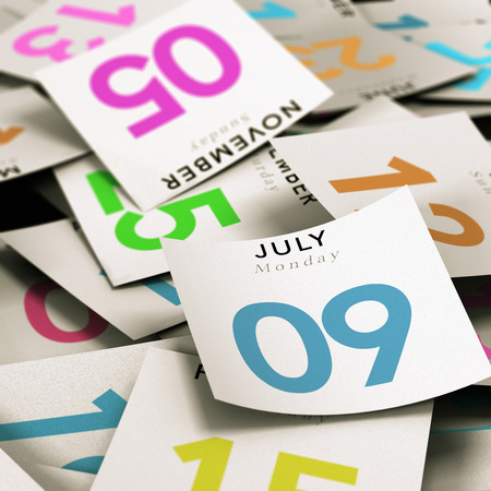 Many tear-off day calendar with focus on the 9th july, illustration image for time passing. Stock Photo