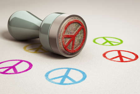 anti war: Rubber stamp over paper background with peace and love symbol printed on it. concept image for illustration of anti war