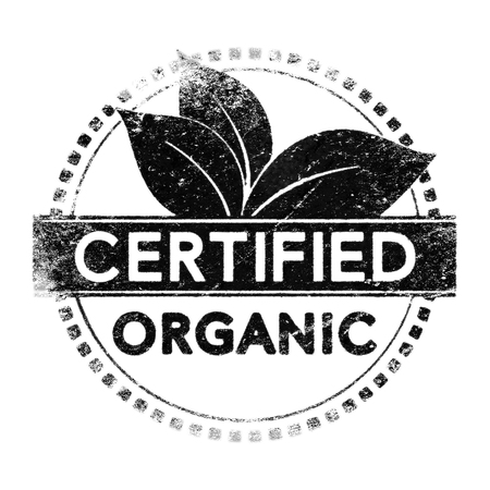 organic: Realistic organic certified label, black silhouette over white for mask use