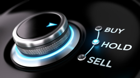 sell shares: Trading platform concept with selector knob positioned on the word hold over black background and blue light. Concept image for illustration of stock market orders and simplicity.