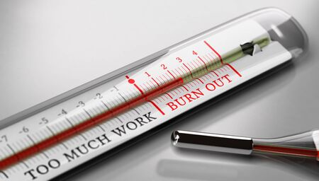 Thermometer with the text burn out and too much work over grey background. Concept image for illustration of occupational burn-out or job stress. Stock Photo