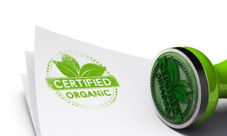 有機で用紙の背景の上のゴム印は、それに刻印ラベル シンボルを認定されています。オーガニック製品のイラストのコンセプト イメージです。