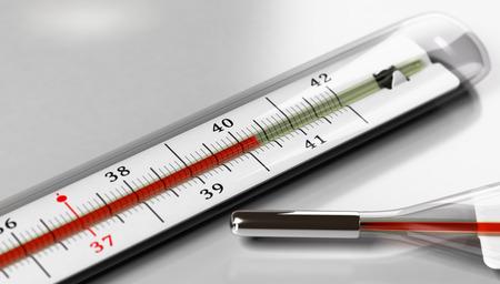 회색 배경 위에 온도계입니다. 발열 또는 높은 온도를 나타내는 이미지.