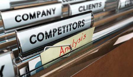 inteligencia: Cierre en una pestaña archivo con la palabra competidores, se centran en un color amarillo, tenga en cuenta donde está el análisis hanwritten, efecto borroso. Imagen del concepto de ilustración de la gestión estratégica o de inteligencia de negocios.