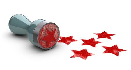 timbre en caoutchouc sur fond blanc avec cinq étoiles imprimées. concept image pour illustrer l'expérience client élevé et le niveau de qualité.