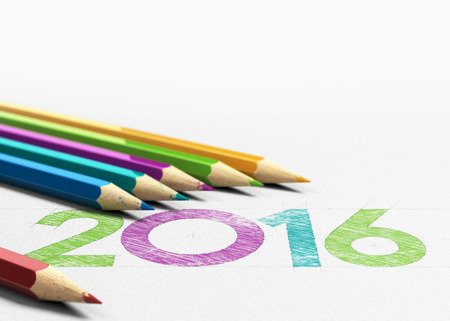 new years eve: New year 2016 handwritten on a paper texture with six wooden pencils sourounding it. Concept image for greeting card design background.