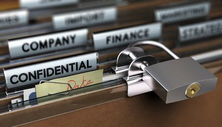 Concept de protection des données sensibles pauvres, dossier sécurisé avec un cadenas simple, Banque d'images