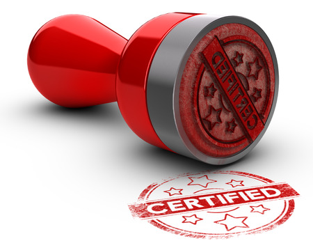 compliance: Rubber stamp over white background with the text certified printed on it. concept image for illustration of certification or guarantee certificate. Stock Photo