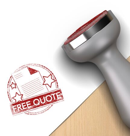 cost estimate: Rubber stamp over white and wooden background with the text free quote printed on it. concept image for illustration of quotation. Stock Photo