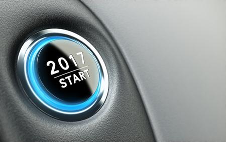 2017 drukknop. Concept van het nieuwe jaar, 2017. Stockfoto