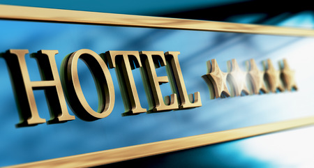five stars: Five stars hotel sign written with golden letters over blue background. Horizontal image suitagle for header Stock Photo