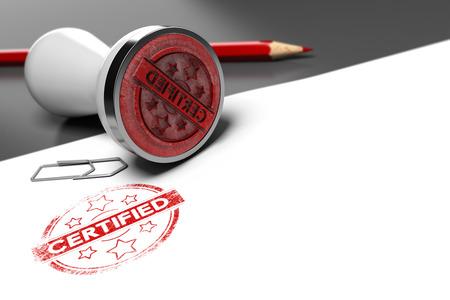 timbre en caoutchouc sur fond gris et blanc avec le texte certifié imprimé. image Concept pour l'illustration de certification ou d'un certificat de garantie. Banque d'images
