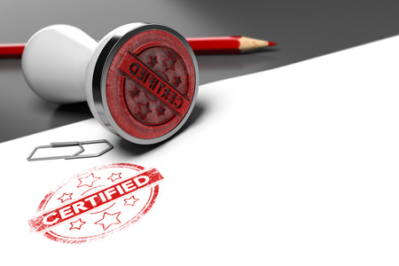 Rubber stamp over grey and white background with the text certified printed on it. Concept image for illustration of certification or guarantee certificate. Archivio Fotografico