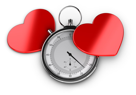 dating: Speed dating concept or love at first sight symbol, Two hearts with a chronometer over white background