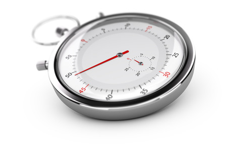 punctuality: Chronograph with red needles over white background, blur effect. Concept of measurement or punctuality Stock Photo